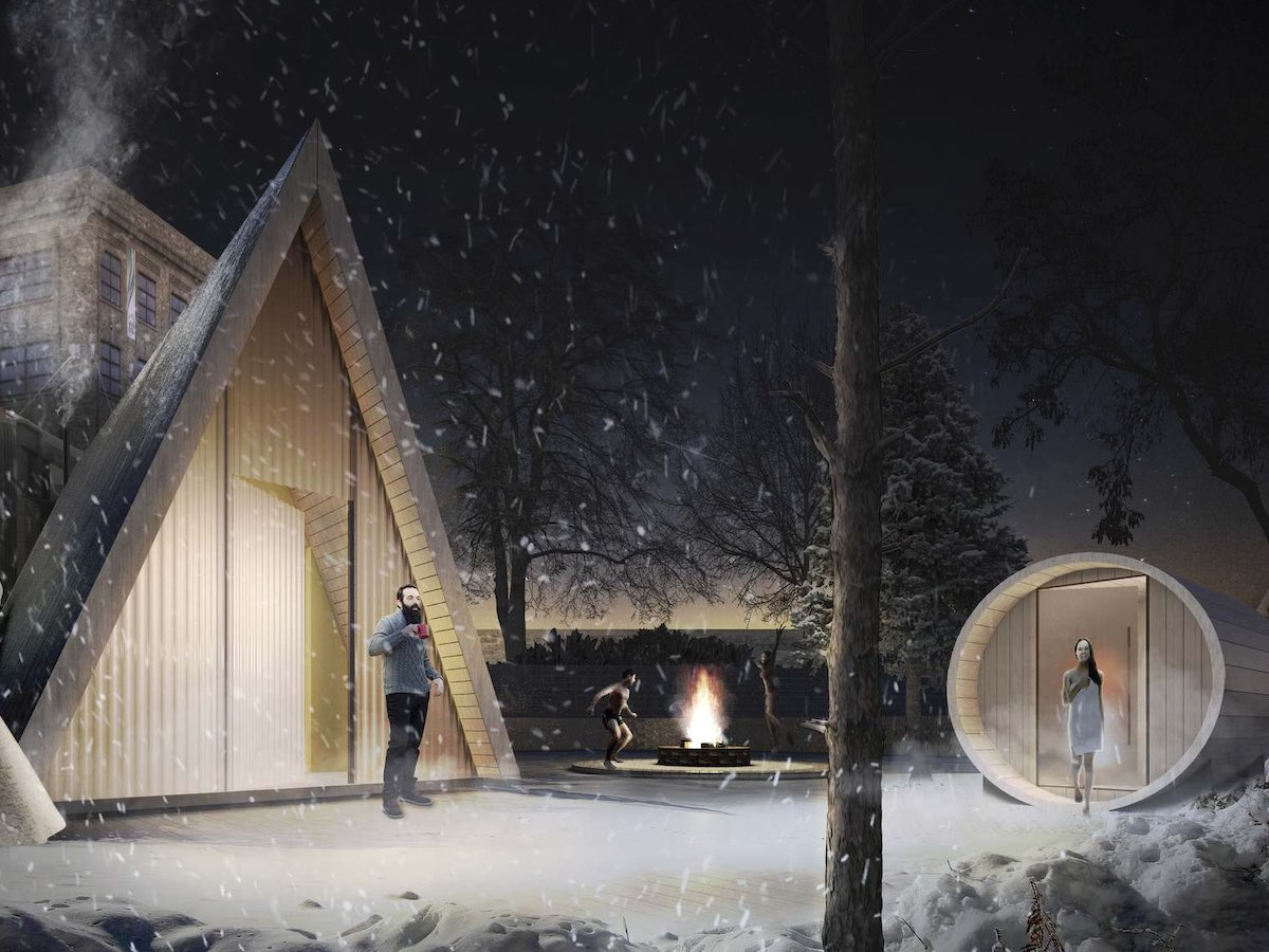 Winnipeg winter stress busters to get you through the holiday season - Sauna Winnipeg at The Forks is a new attraction this winter. (Artist Rendition)