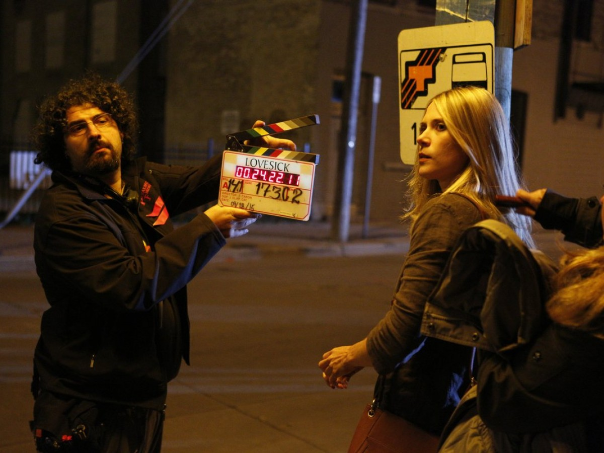 See Winnipeg on the big screen (at home) - Actress Ali Tataryb preparing for a scene in 2016's Lovesick, which was shot and is based in Winnipeg (photo courtesy of Manitoba Film and Music)