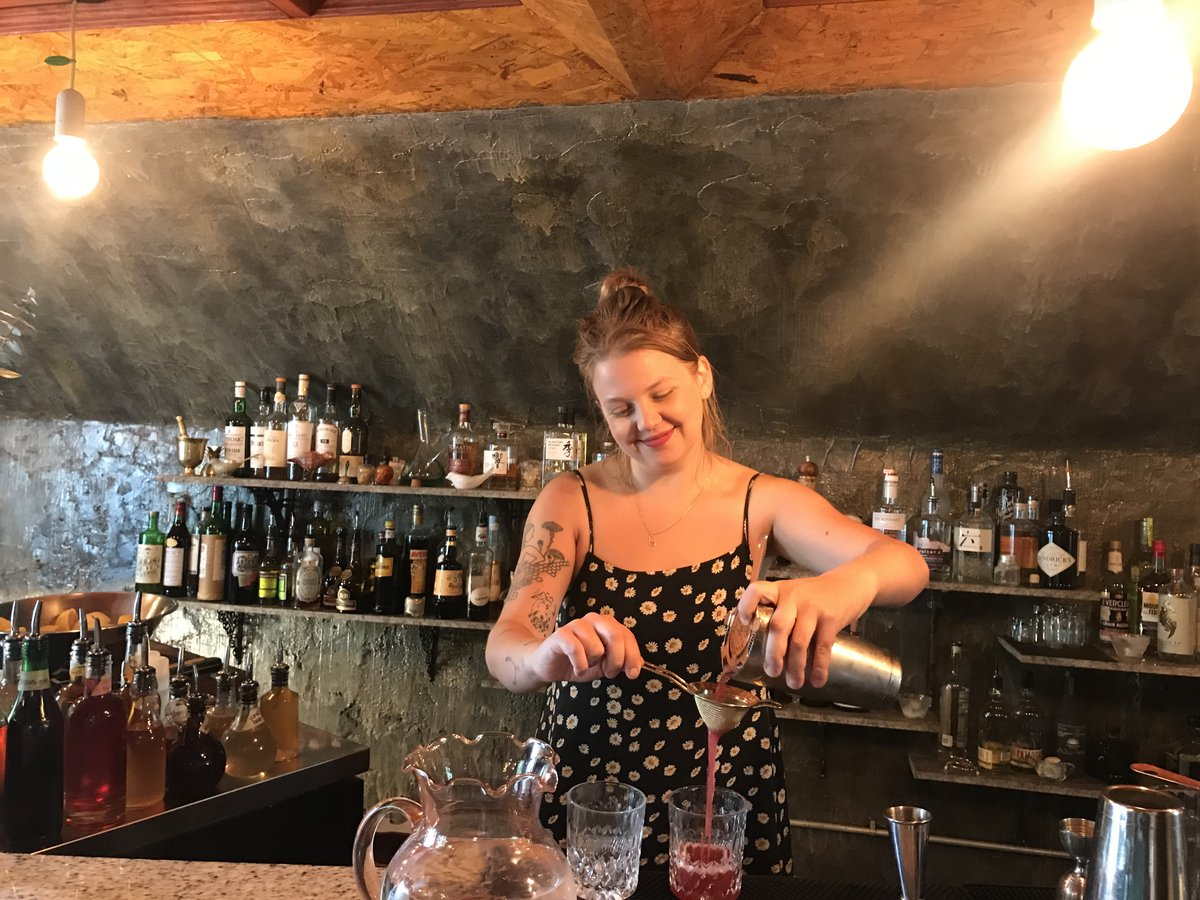 Winnipeg's cocktail queen is perched on some of the city's best patios - Elsa Taylor behind the bar at The Roost on Corydon (PCG)