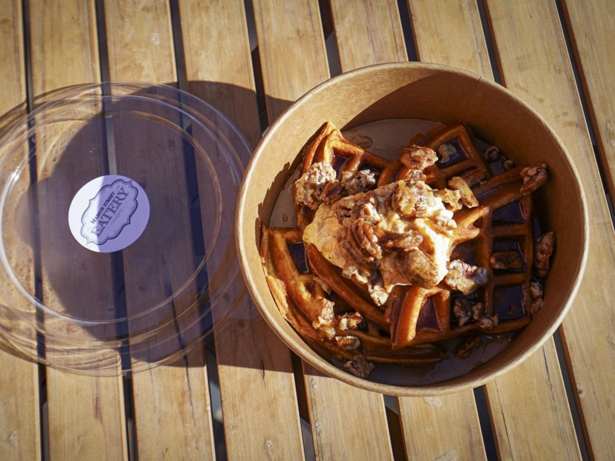 Don't waffle when it comes to Winnipeg's waffle options - Marion Street Eatery's pumpkin cream cheese, maple candied pecan, brown butter & spiced honey waffle is poetry (Photo: Maddy Reico)