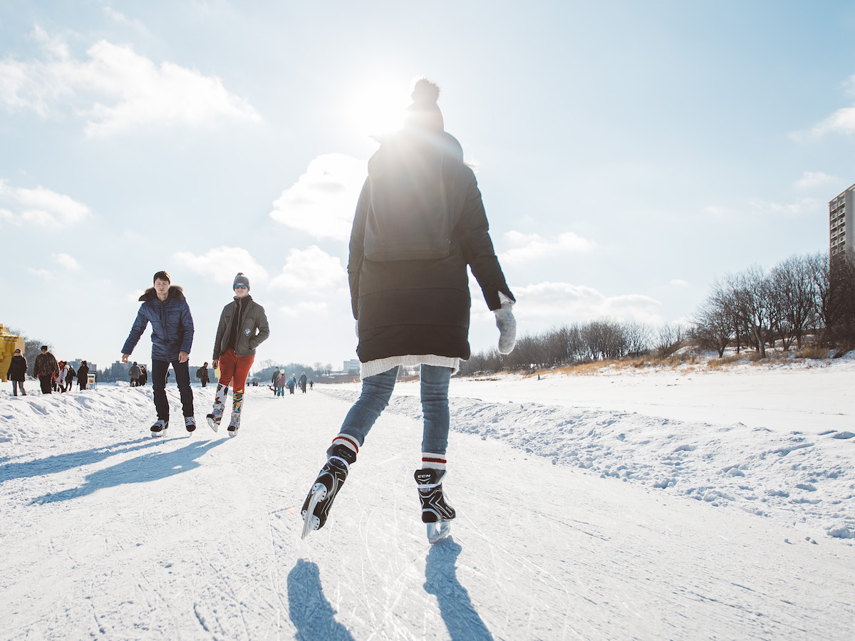 ​Nine spots to lace up the skates and make nice on Winnipeg's ice - Skate the Centennial River Trail at The Forks (photo: Mike Peters)