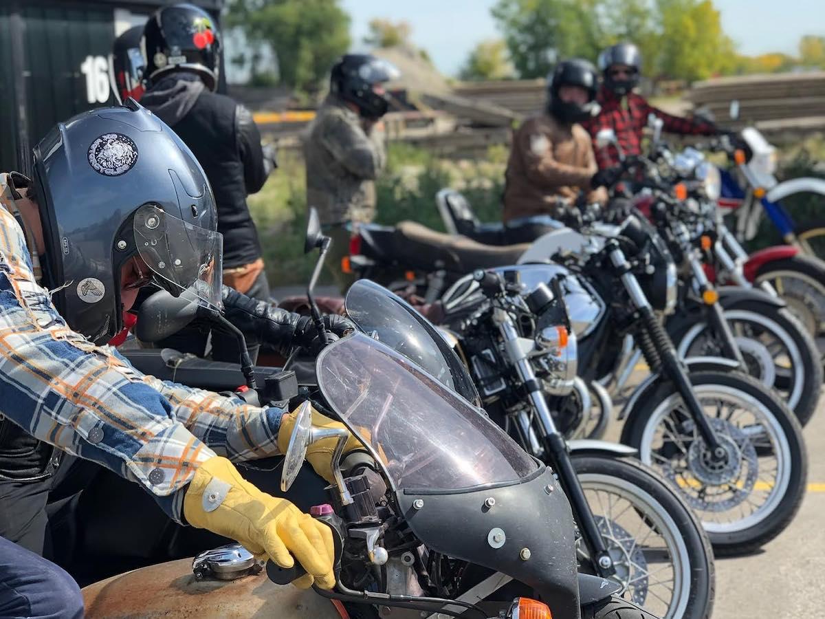 Motorcycle tourism in Winnipeg - Motorcycle meet up at Moto 49, a DIY motorcycle garage and lifestyle hub in Winnipeg (photo: Moto 49)
