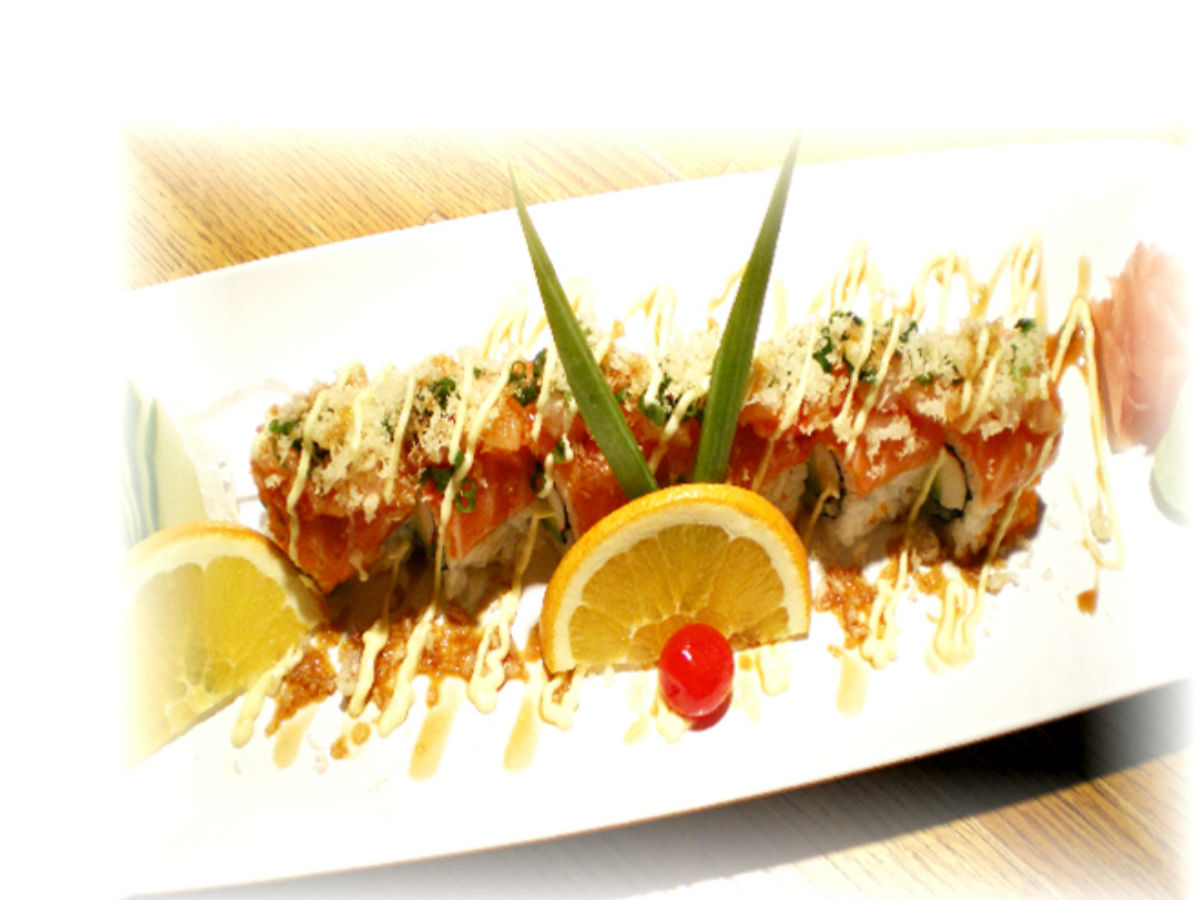 Meiji Sushi and G. Martini Lounge: Japanese Comfort Food - A juicy salmon California roll, smothered in all the fixings