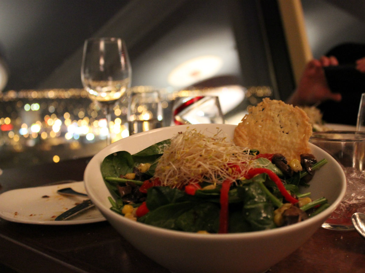 Prairie 360: Food from the Land - A young spinach & red pepper salad, beside the amazing view of Prairie 360
