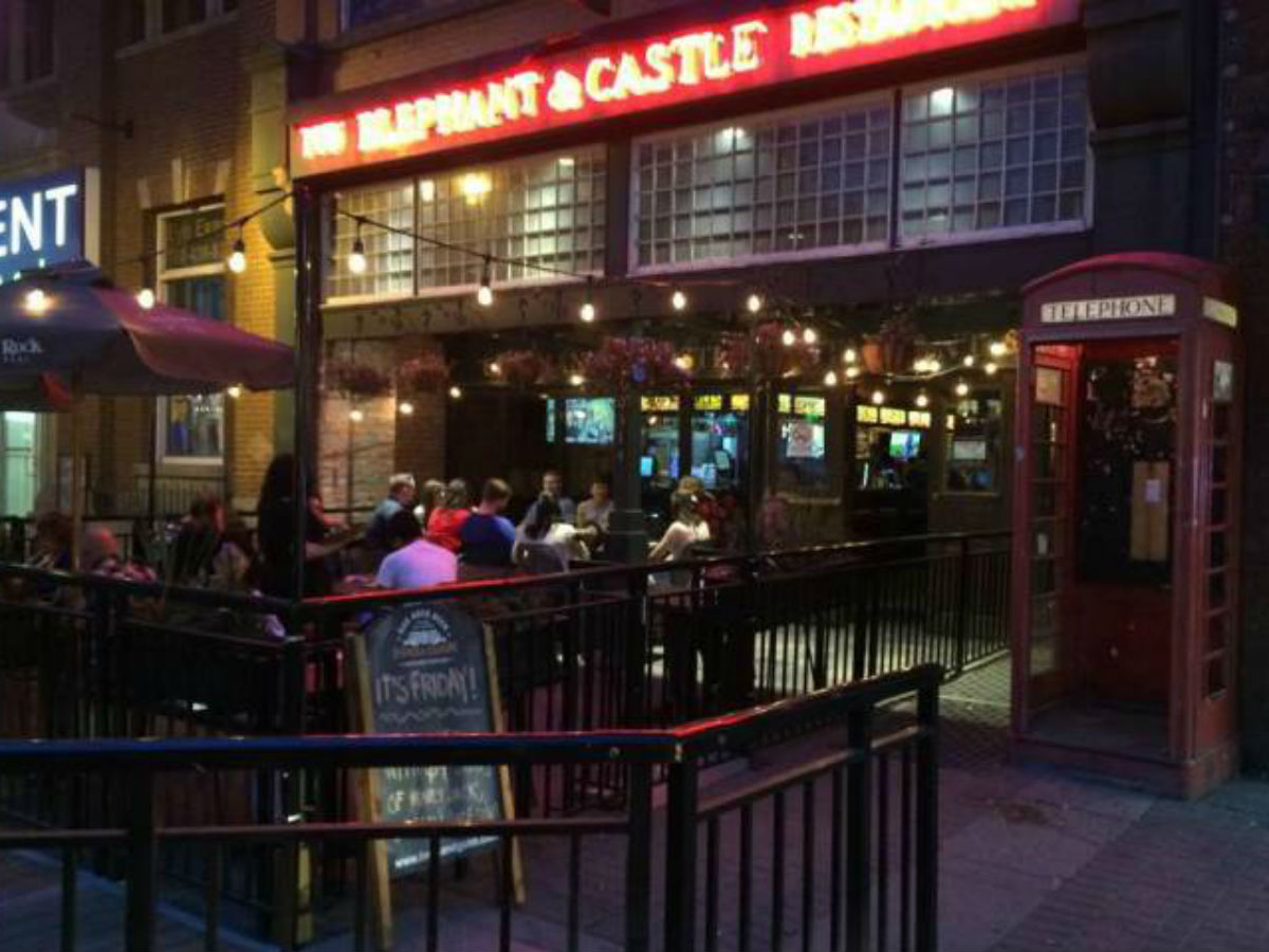 Elephant & Castle Reopens After Renovations - Store front of the Elephant & Castle