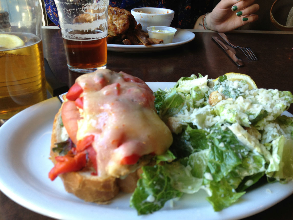 New & Noteable: Lunch Bell Bistro - A hearty caesar salad tossed beside the veggie toast, smothered with melted Mozza.