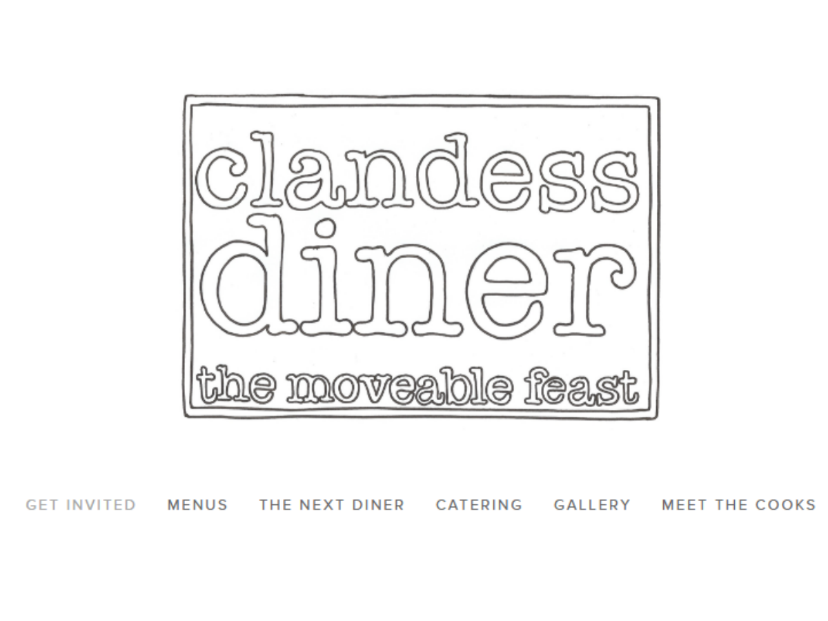 Clandess Diner's Moveable Feasts bring something wild to the table - The Clandess Diner's main logo and website page, including information leading to their famous Moveable Feast