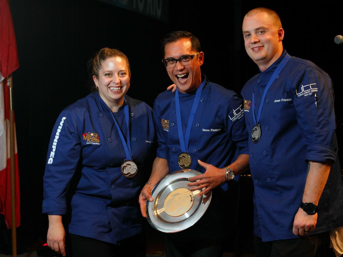 Chef profile: Gold Medal Plates Winnipeg 2015 winner Norm Pastorin  - Last year's medalists Melissa Makarenko - bronze, Norm Pastorin - gold and Jesse Friesen - silver (Richard Brunel/Gold Medal Plates)