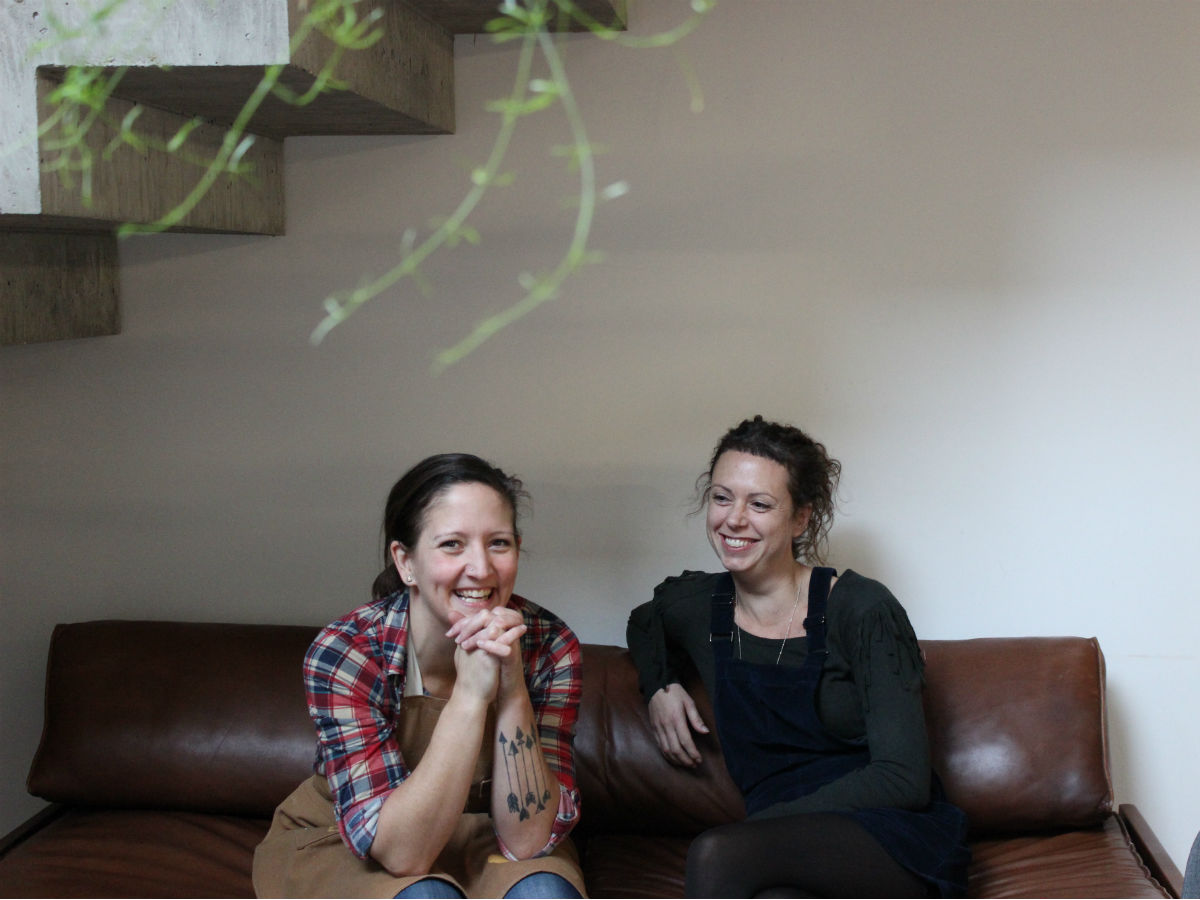 Why Forth is also a bit of a first - Pamela Kirkpatrick and Megan Heke in the Forth atrium (PCG)