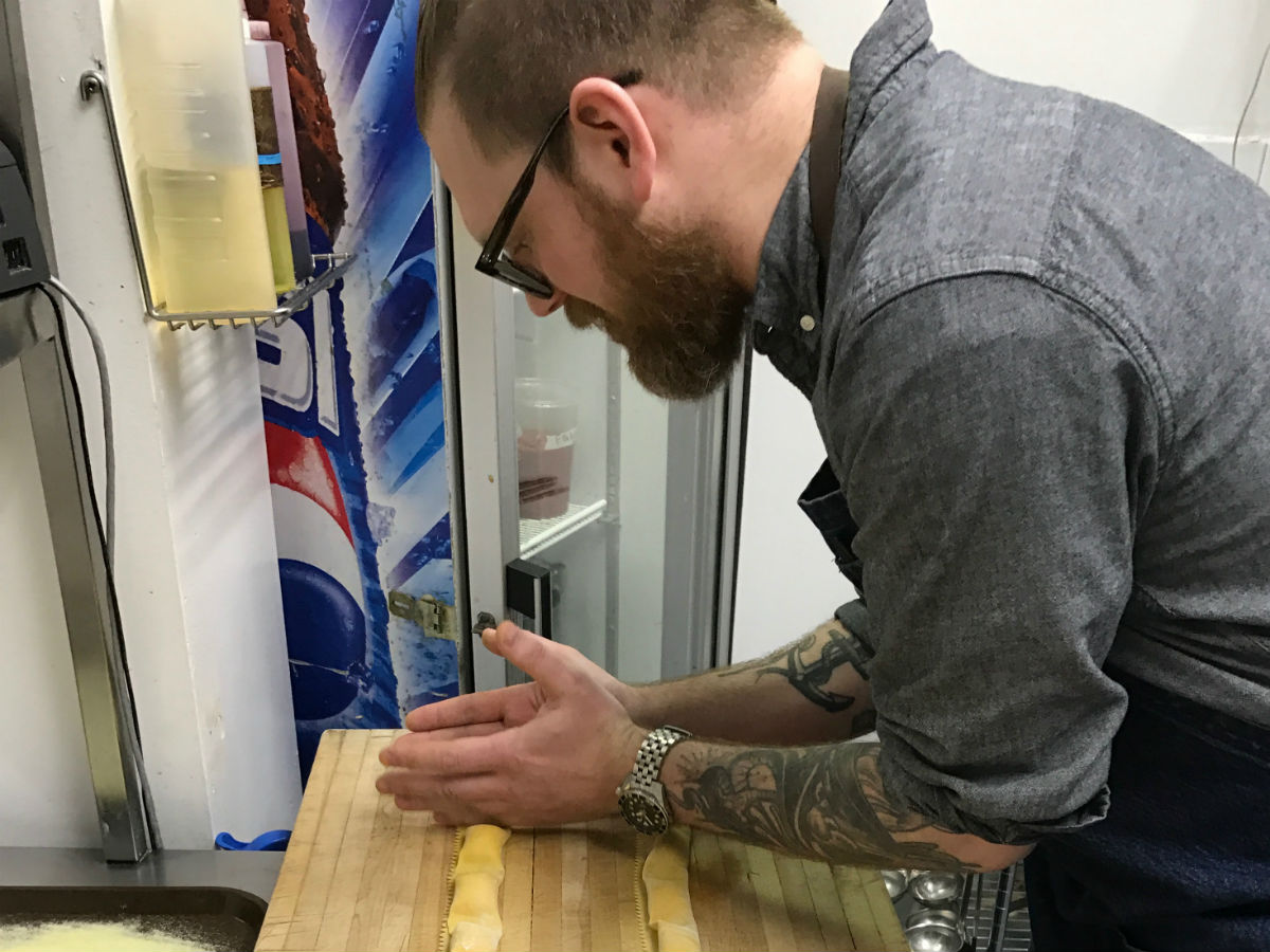 The Mitchell Block is rolling in accolades with its house-made pasta - Chef/owner Sean McKay making agnolotti (PCG)