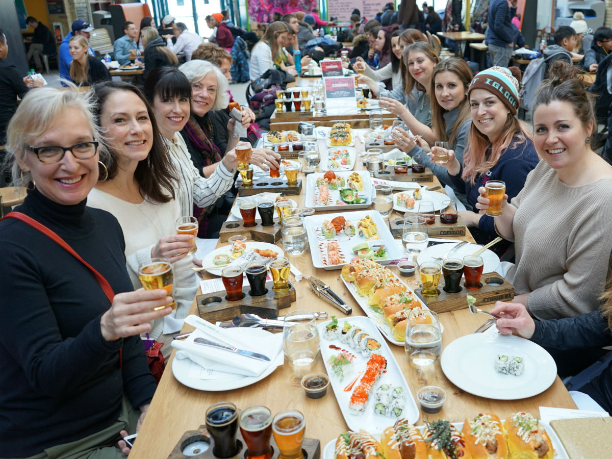 Peg City Grub's guide to dining at The Forks Market  - Travel writers eating in The Forks Market during a tour we hosted in February (Tourism Winnipeg)