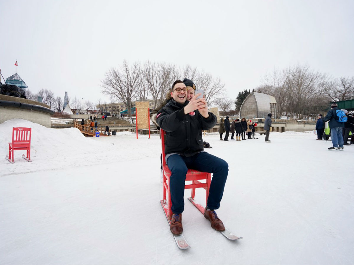 Top spots to take that special selfie, with that special someone, on Valentine's Day in Winnipeg - The Forks is a great spot to take a selfie with that special someone -- even if you are just friends like these two (Tourism Winnipeg)