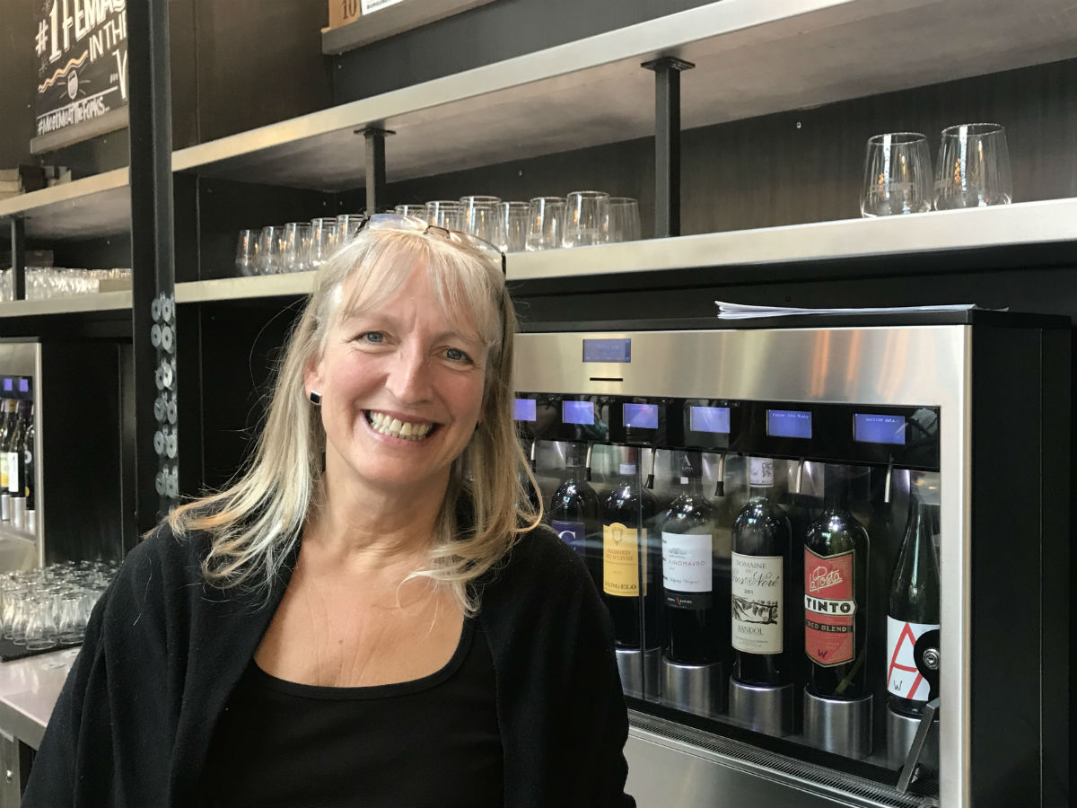 One of the world's best sommeliers is now curating the wine and beer selection at The Forks - Sommelier Véronique Rivest behind the bar at The Common inside The Forks Market (PCG)