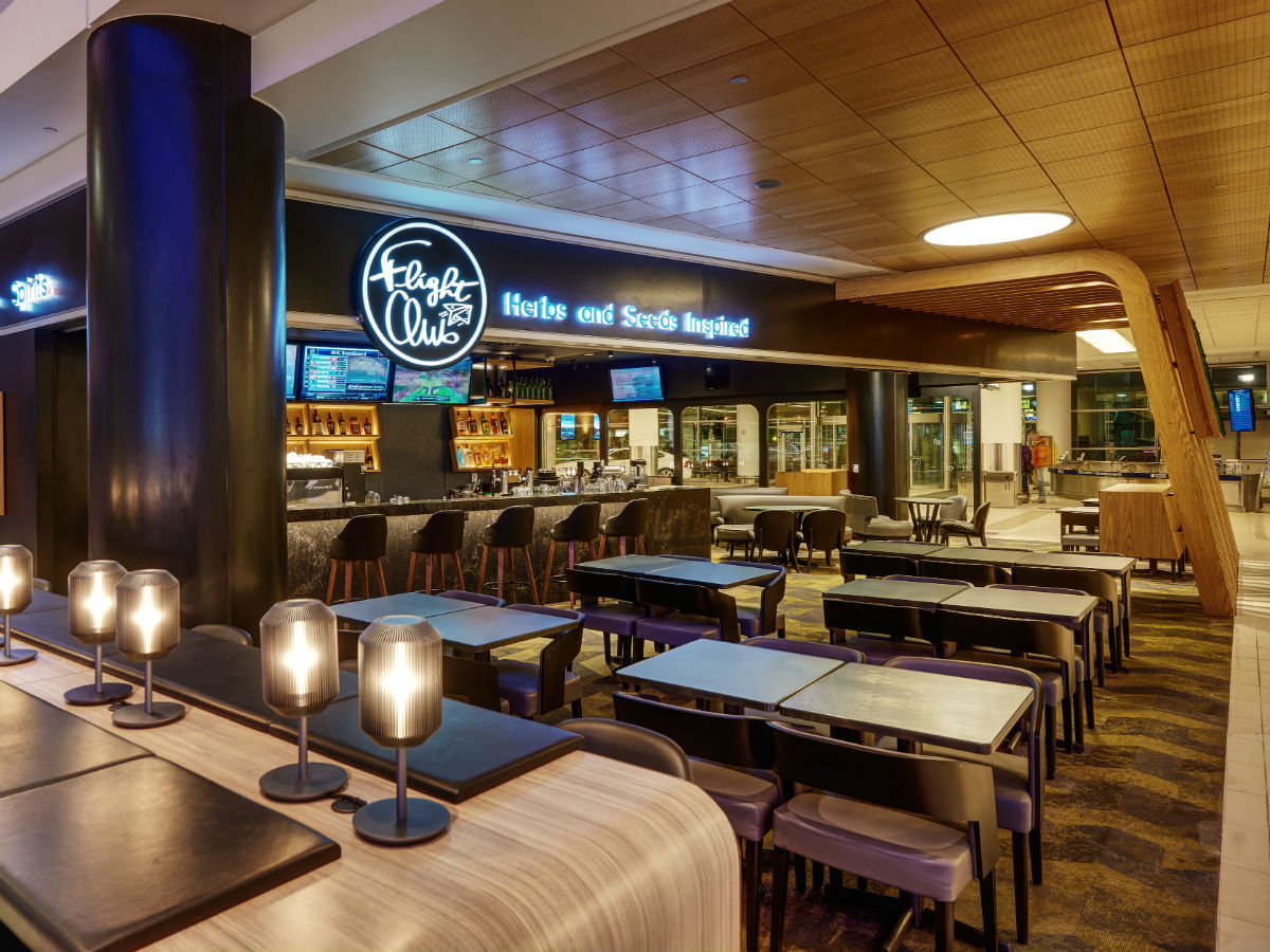 Fuel up before take-off with enticing new offerings at Winnipeg International Airport  - Winnipeg James Armstrong Richardson International Airport's new Flight Club restaurant and lounge (Winnipeg Airports Authority)