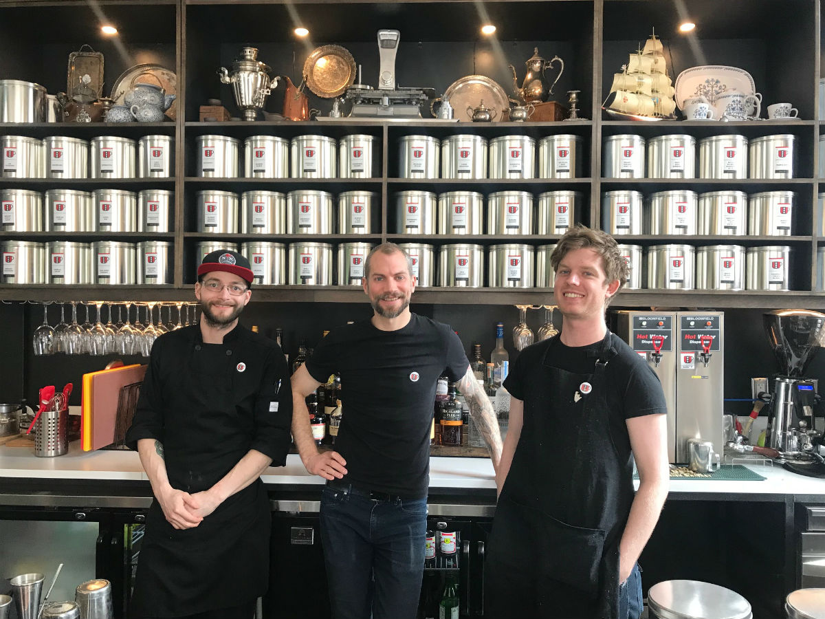 Amsterdam Tea Room is steeped with cocktails, small plates and Dutch charm - Amsterdam Tea Room's chef Alexander McMullen, co-owner Mark Turner and tea man, barman, and cello superstar Rob Knaggs (PCG)