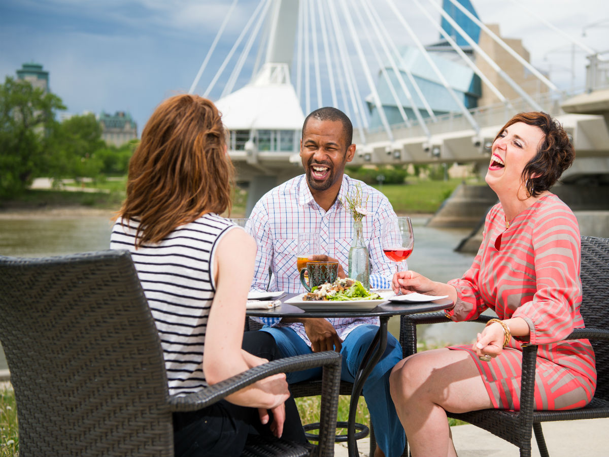Patio season is in full swing in St. Boniface - photo by Dan Harper courtesy of CDEM (Economic Development Council for Manitoba Bilingual Municipalities)
