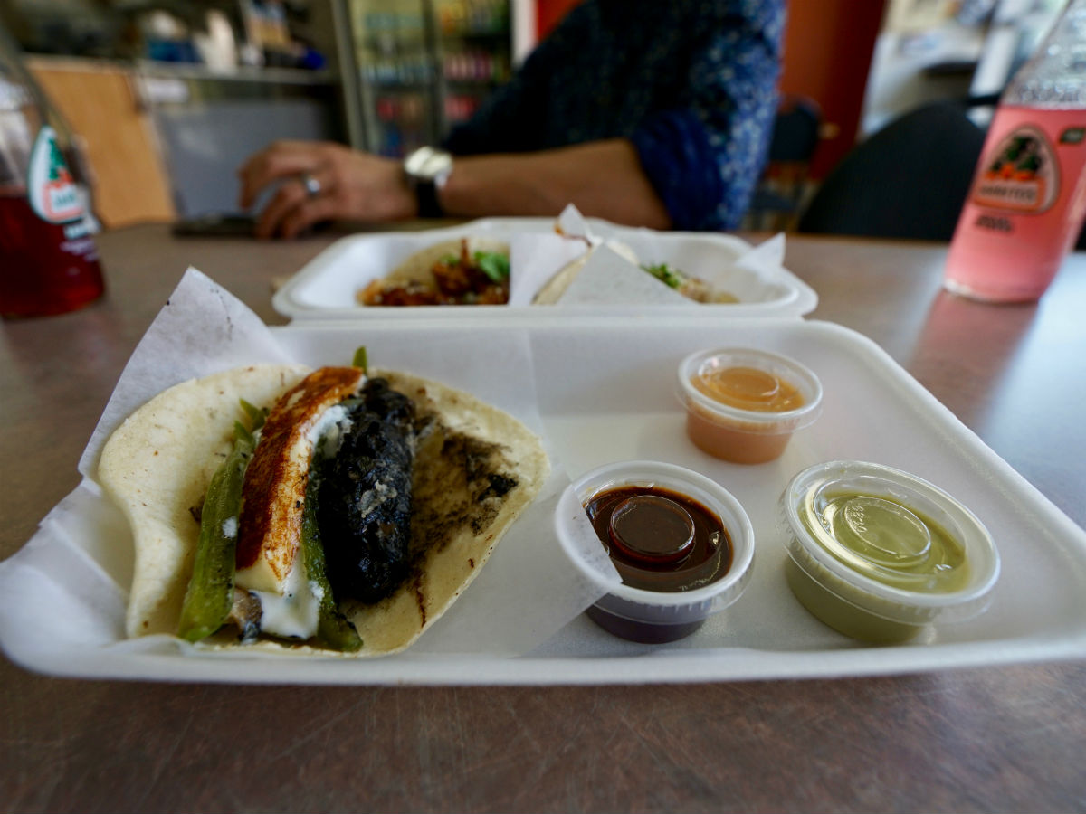 Winnipeg's West End Food Tours bring you to tables from around the world - Sargent Taco's huitlacoche tacos with rajas and grilled queso fresco (Tyler Walsh)