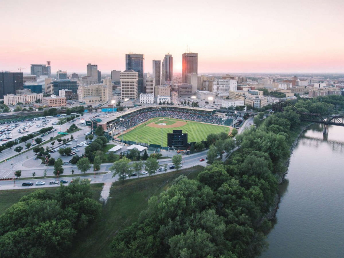 You'll always have a ball -- while watching ball -- at Shaw Park during a Winnipeg Goldeyes Game - Shaw Park looking gorgeous as always against the city skyline (photo by Mike Peters)