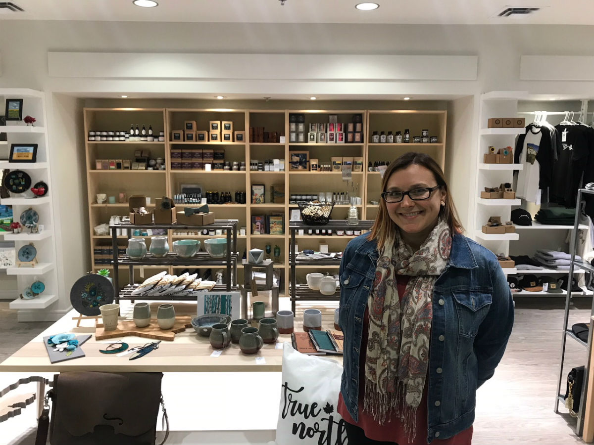 Made Here offers incredible locally made gifts while providing funds for local children's charities - Melissa Penner in the Made Here store (OITP)