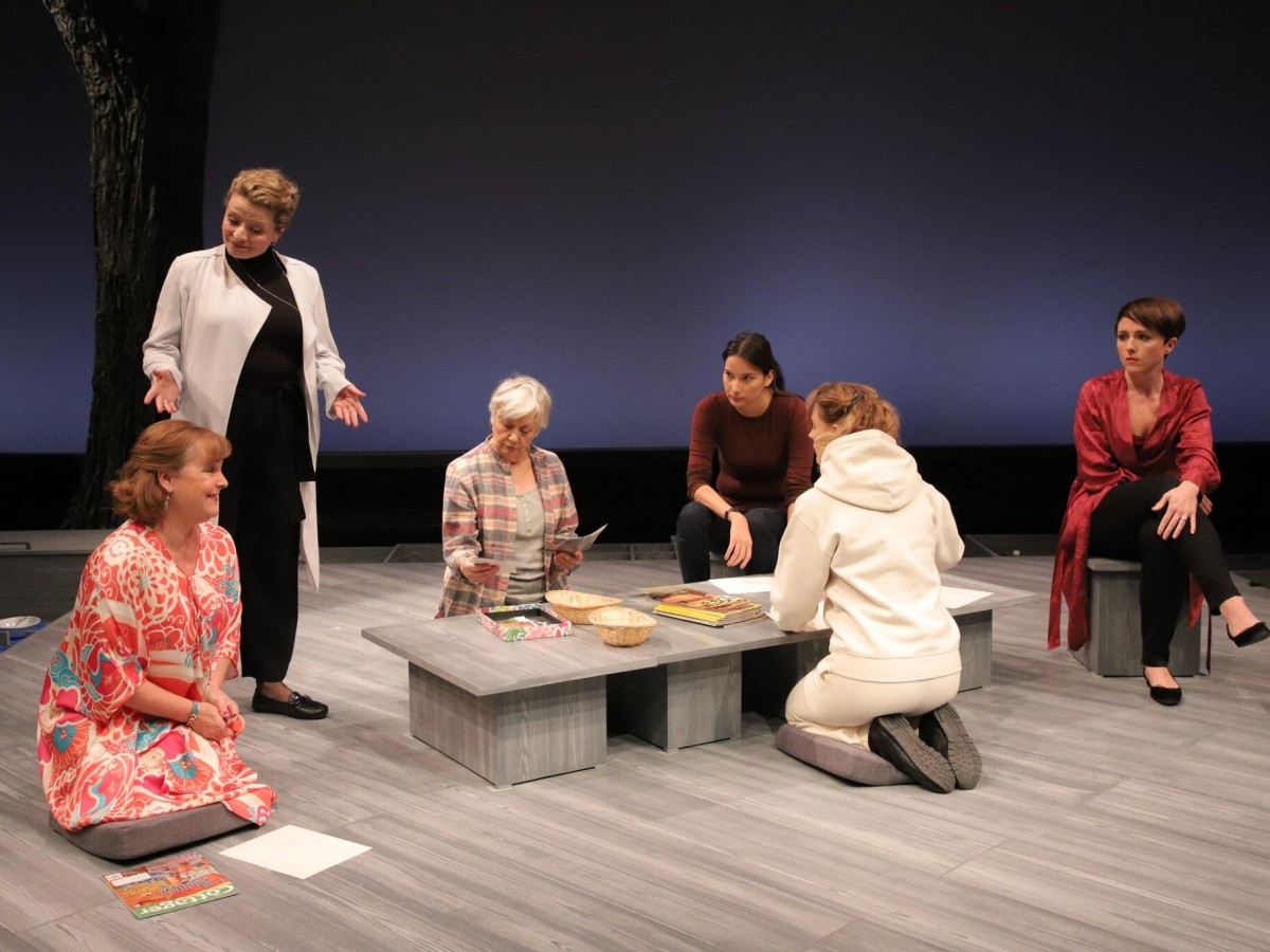 Review: Happy Place a powerful story - From L-R: Jan Skene, Daina Leitold, Megan McArton, Darla Contois, Alicia Johnston, Paula Potosky. Photo credit: Leif Norman