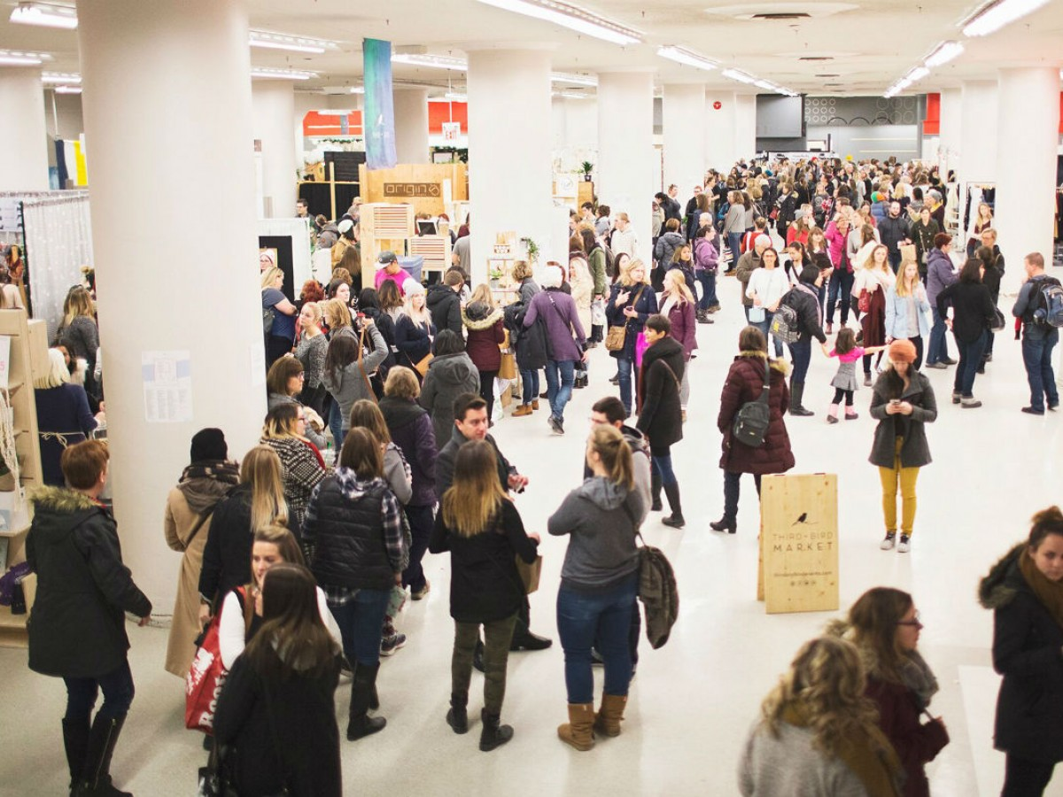 Holiday Market Season in Winnipeg is upon us  - Crowds at last year's Third + Bird Christmas Market (photo by Rosie Haberl)