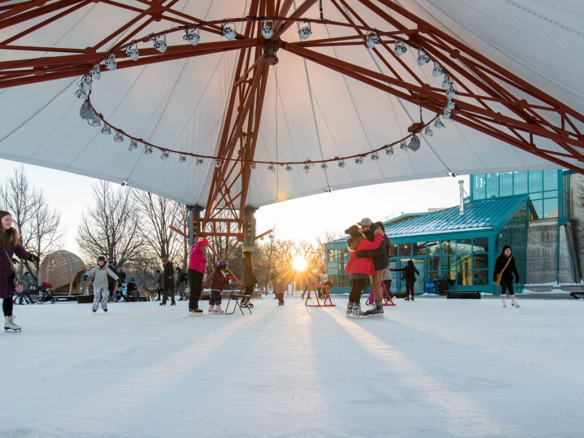 Top 10 reasons why Winnipeg owns winter  - Peak winter (and some romance to boot) at The Forks Market Plaza (photo by Mike Peters)