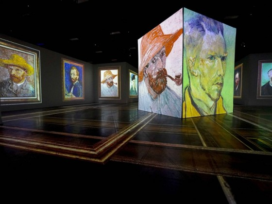 Imagine Van Gogh welcomes you into a dreamscape of masterworks - The many self-portraits of Van Gogh (photo by Maddy Reico)