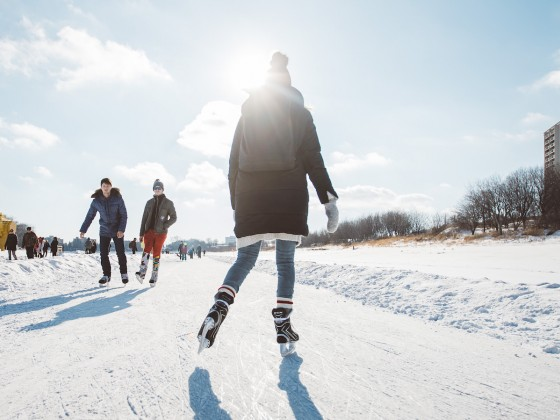 ​7 spots to lace up the skates and make nice on Winnipeg's ice - Skate the Centennial River Trail at The Forks (photo: Mike Peters)