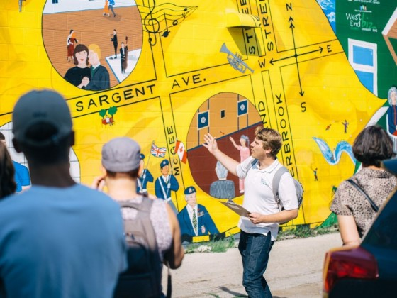 Culinary Connects Culture: Go globetrotting on a West End BIZ tour - The West End Biz's Joe Kornelsen leading a tour of the West End (photo by Mike Peters)