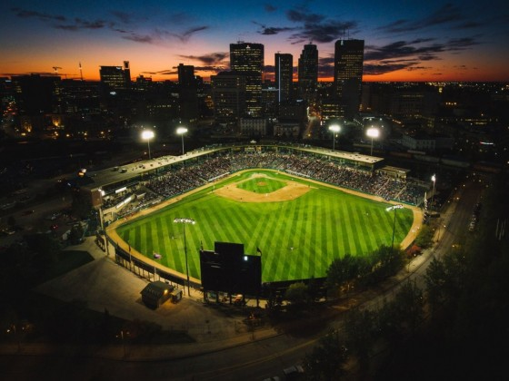 Winnipeg Goldeyes' theme nights are a grand slam of a good time - Shaw Park looking gorgeous as always against the city skyline (photo by Mike Peters)
