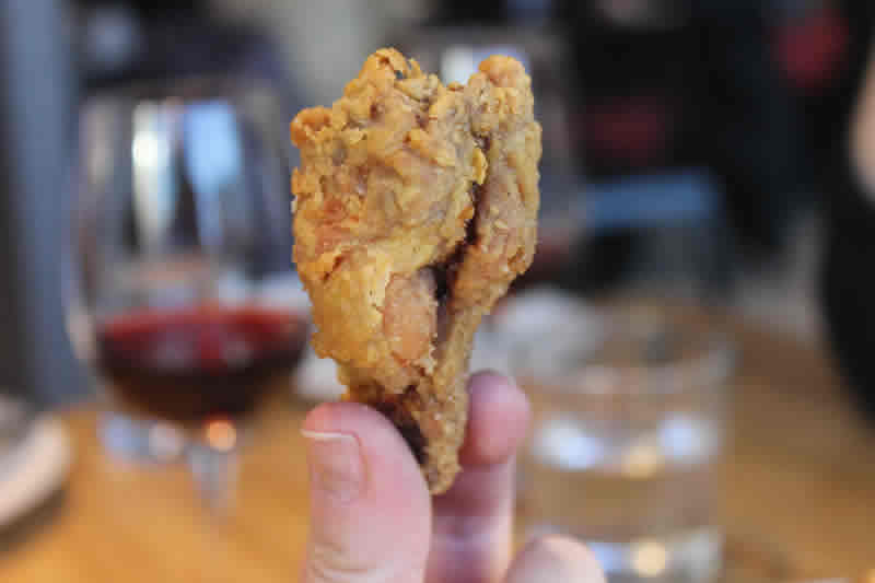 Behold the mighty five-spice chicken wing, The Cornerstone. (Photo by Robin Summerfield.)