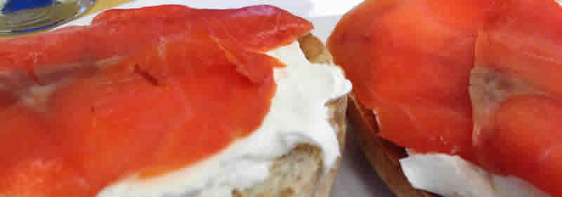 Toasted bagel with cream cheese and lox. (photo by robin summerfield)