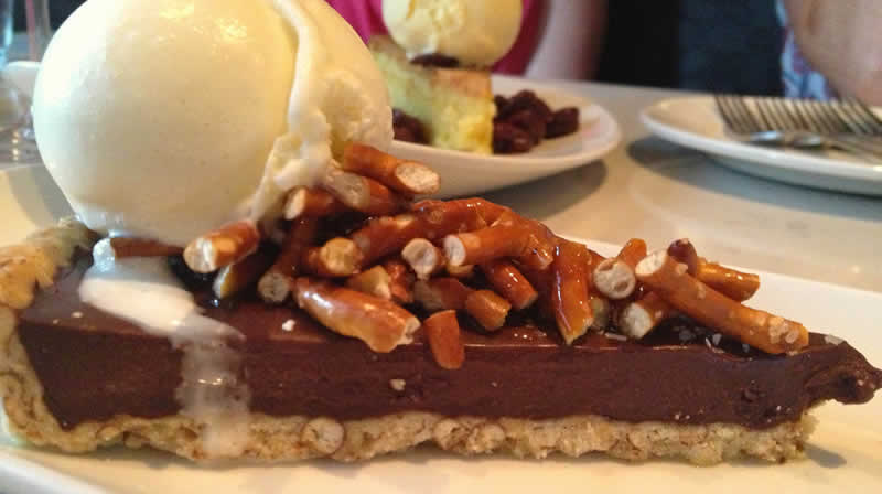 Chocolate torte with pretzel crumble, Fusion. (Photo by Robin Summerfield.)