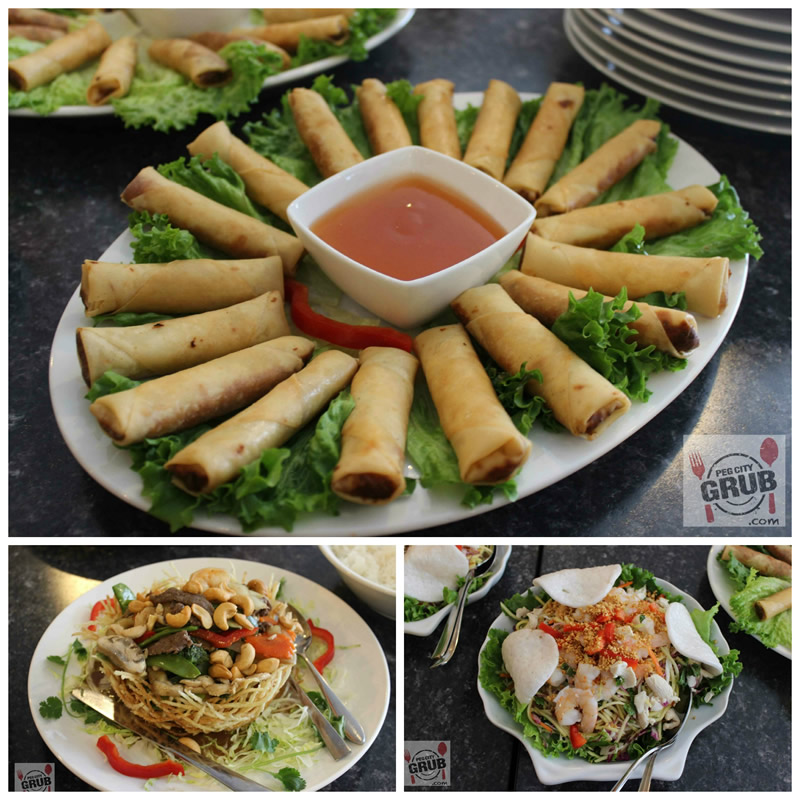 Spring rolls (top), mango salad (right) and a birds nest at Pho Binh Mihn. (Photo by Robin Summefield.)