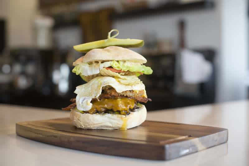 Tickle my Pickle Burger at Marion Street Eatery. Photo by Brett Howe, Charcoal Collaborative