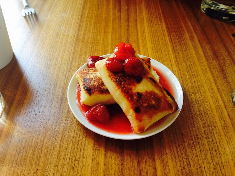 Cheese blintzes at Sherbrook St. Delicatessen