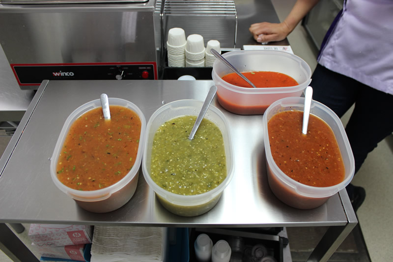Michoacán, tomatillo, chipotle and habanero (from left to top) salsas (PCG)