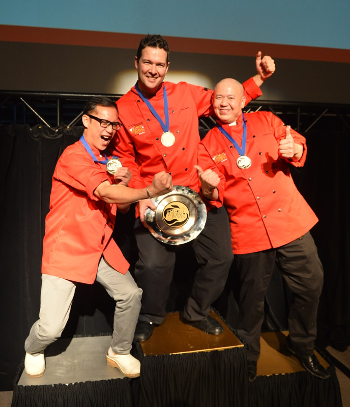 Chef Norm Pastorin - silver, Chef Luc Jean - gold, and Chef Edward Lam - bronze at last year's Gold Medal Plates Winnipeg (Gold Medal Plates)
