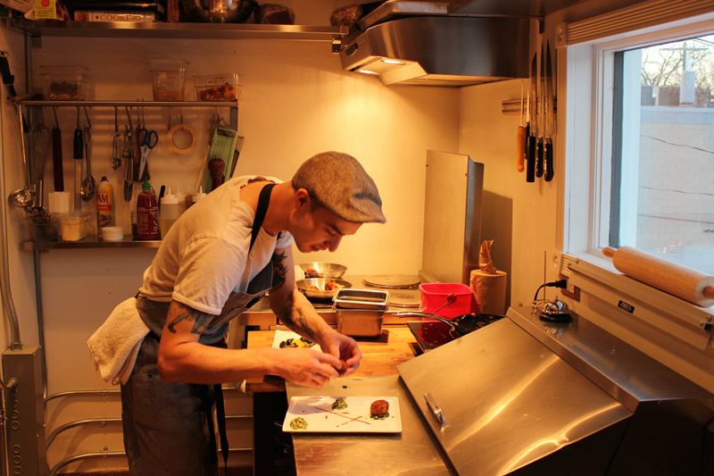 Chef Sean Bernard in The Roosts' one-person only kitchen (PCG)