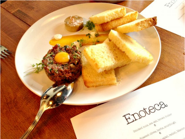 Beef tartare at Enoteca (photo by Dan Clapson/Eat North)