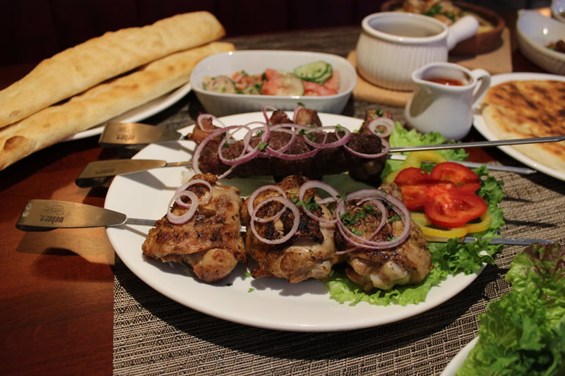 A selection of Shashlik - skewered marinated meats grilled on a spit (PCG)