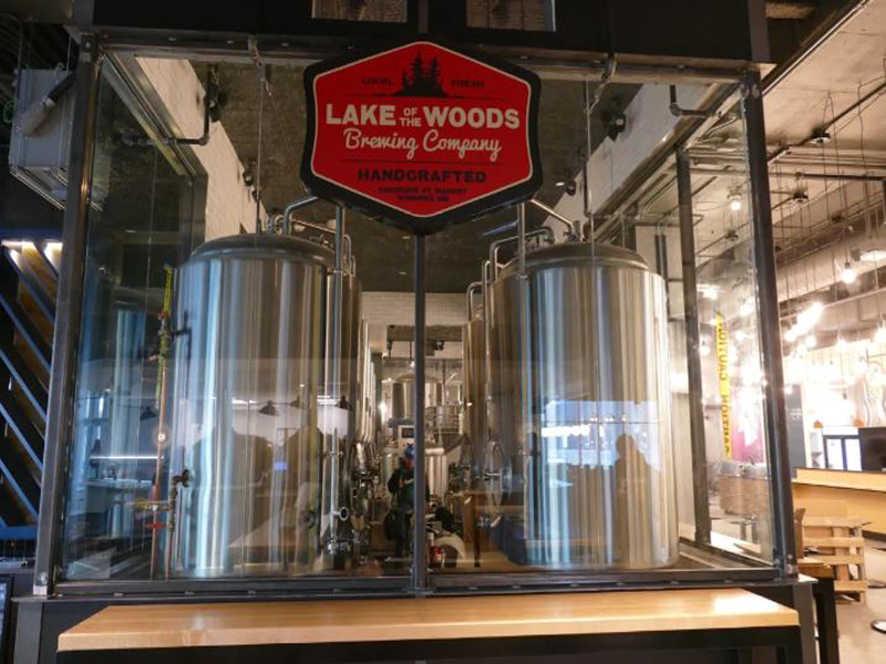 Kenora-based Lake of the Woods Brewing Company is one of the vendors in the new Hargrave St. Market. (Jeff Stapleton/CBC)